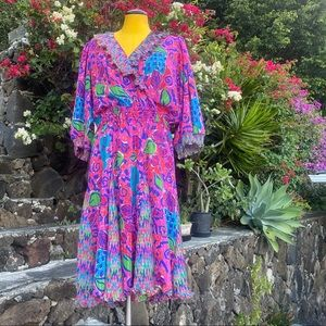 VINTAGE Montage by Mosiac bright floral dress